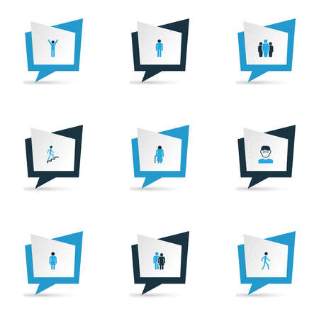 Person icons colored set with man, team, climbing and other walking elements. Isolated vector illustration person icons. Stok Fotoğraf - 138392282