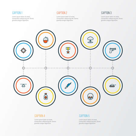 Battle icons colored line set with nuclear explosion, military helicopter, poison and other hunting blade elements. Isolated illustration battle icons. Reklamní fotografie