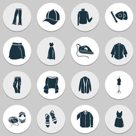 Fashion design icons set with skein of yarn, sleeveless dress, long sleeve shirt and other mannequin elements. Isolated illustration fashion design icons.