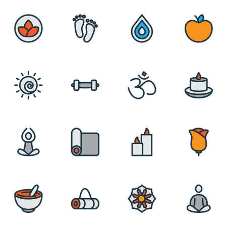 Yoga icons colored line set with paraffin, dumbbell, hinduism and other mat elements. Isolated vector illustration yoga icons. Standard-Bild
