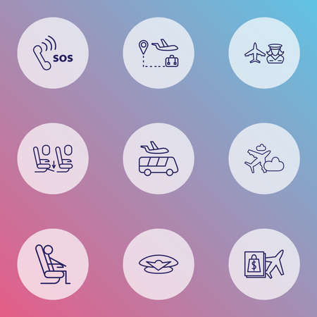 Traveling icons line style set with sitting man, pilot cap, seat feet space and other seat person elements. Isolated vector illustration traveling icons.