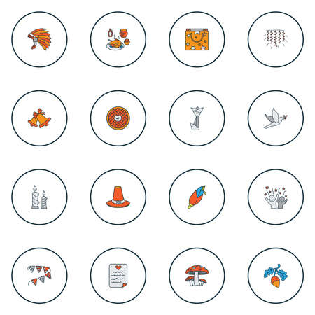 Festival icons colored line set with origami, mushroom, thanksgiving dinner and other maize elements. Isolated illustration festival icons.