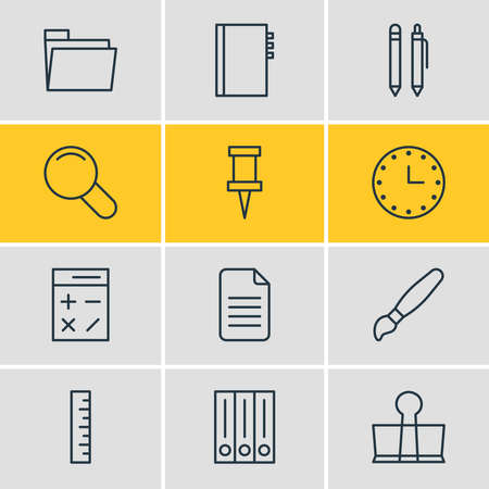 Vector illustration of 12 instruments icons line style. Editable set of library, folder, calculator and other icon elements. Illusztráció