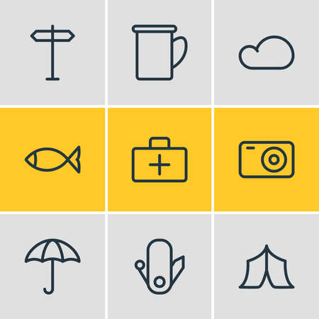 Vector illustration of 9 camp icons line style. Editable set of umbrella, fish, signpost and other icon elements. Ilustração Vetorial