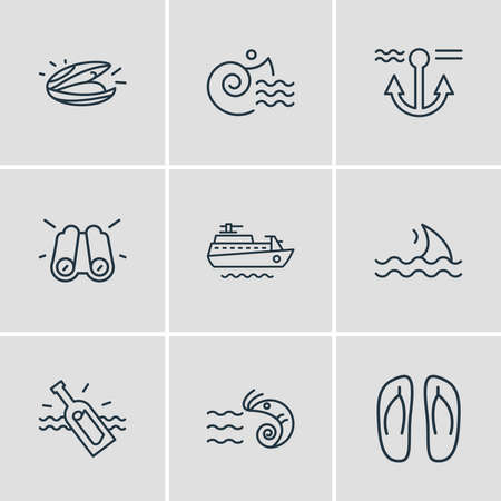 Vector illustration of 9 nautical icons line style. Editable set of binoculars, prawn, bottle with note and other icon elements.