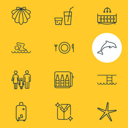 Vector illustration of 12 vacation icons line style. Editable set of crib, meal, family and other icon elements. Illusztráció