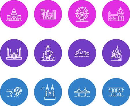 illustration of 12 world landmarks icons line style. Editable set of sydney opera house, pond du garre, great buddha and other icon elements. Stok Fotoğraf