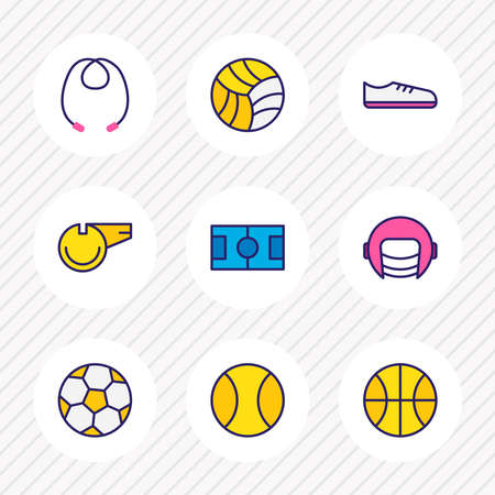 illustration of 9 athletic icons colored line. Editable set of jumping rope, helmet, whistle and other icon elements.