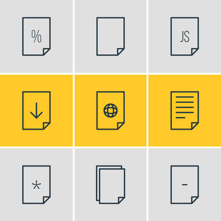 Vector illustration of 9 paper icons line style. Editable set of empty, download, important and other icon elements.