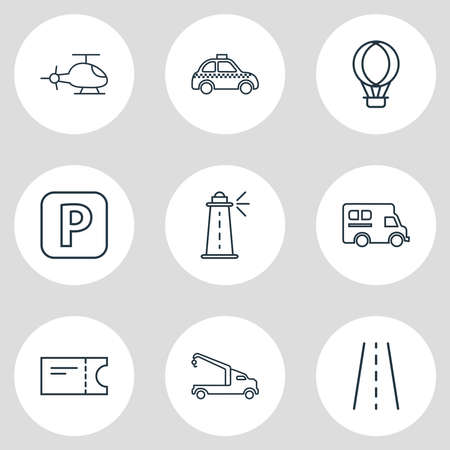 Vector illustration of 9 transportation icons line style. Editable set of road, train ticket, taxi and other icon elements.