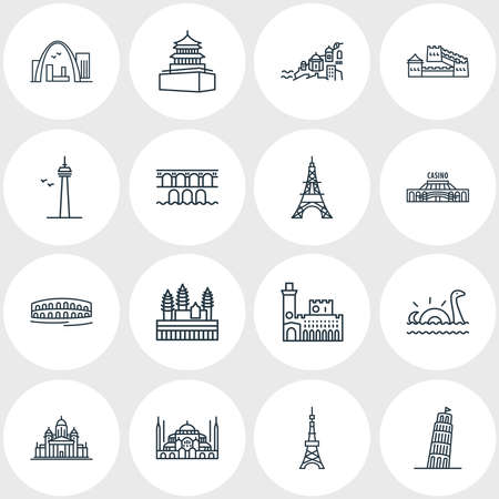 Vector illustration of 16 world landmarks icons line style. Editable set of arena di verona, angkor wat, gateway arch and other icon elements.