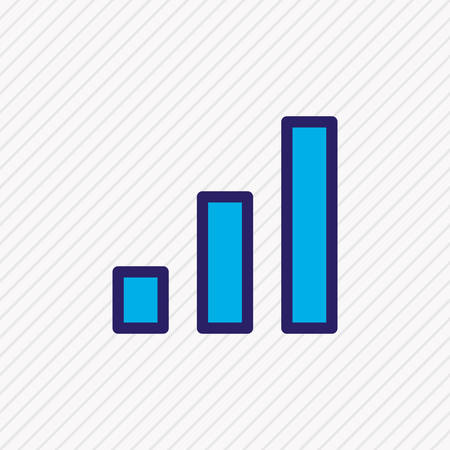 Vector illustration of chart icon colored line. Beautiful office element also can be used as columns graph icon element.