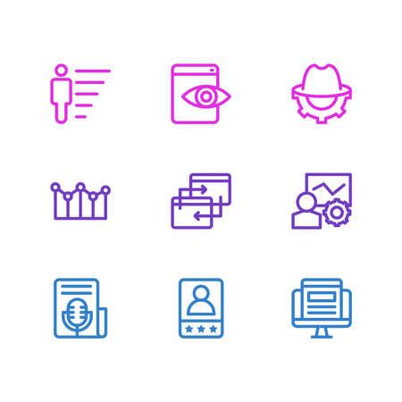 illustration de 9 style de ligne d'icônes marketing. Ensemble modifiable de carrière, de visibilité sur le Web, de campagne adwords et d'autres éléments d'icône. Banque d'images