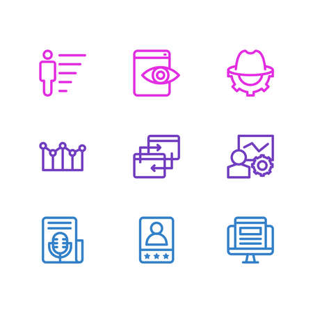 illustration of 9 marketing icons line style. Editable set of career, web visibility, adwords campaign and other icon elements. Stock Photo
