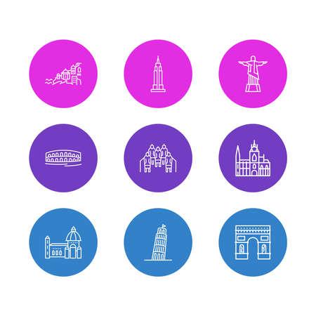 Vektor-Illustration von 9 Geschichtssymbolen Linienstil. Bearbeitbarer Satz von Pisa, Terrakota-Kriegern, Arc de Triomphe und anderen Symbolelementen.