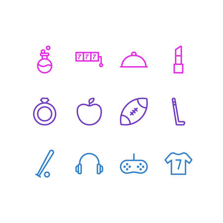 illustration of 12 entertainment icons line style. Editable set of rugby, apple, flask and other icon elements. Stock Photo