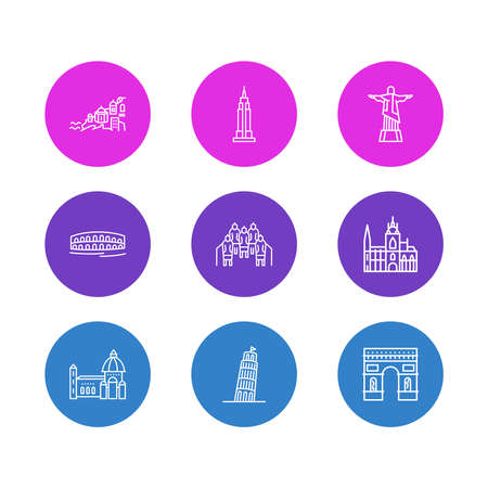 illustration of 9 culture icons line style. Editable set of pisa, terracota warriors, arc de triomphe and other icon elements.