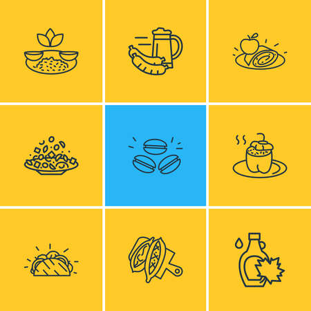 Vector illustration of 9 culinary icons line style. Editable set of food, german beer with sausage, indian rice with curry and other icon elements.