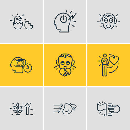 Vector illustration of 9 emoticon icons line style. Editable set of lonely, mind power, mind map and other icon elements. 矢量图像