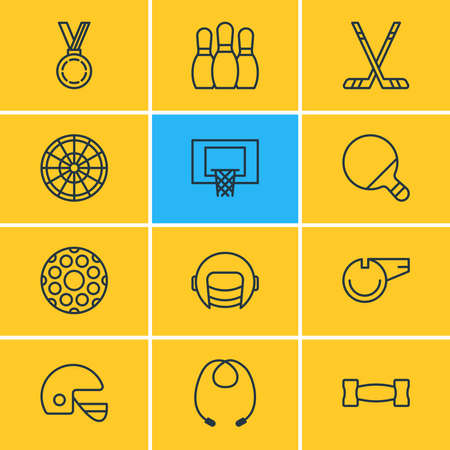 illustration of 12 athletic icons line style. Editable set of pins, whistle, barbell and other icon elements.