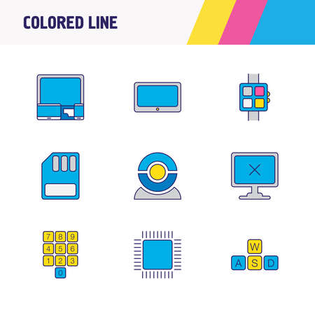 illustration of 9 notebook icons colored line. Editable set of cpu, devices, numpad and other icon elements.