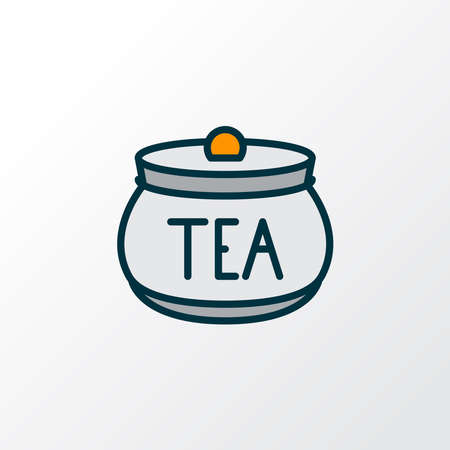 Tea container icon colored line symbol. Premium quality isolated jar element in trendy style. Ilustração