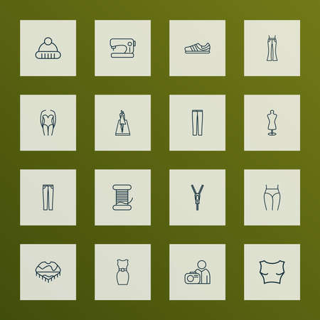 Style icons line style set with sleeveless dress, tailors dummy, sewing machine and other underwear   elements. Isolated vector illustration style icons.