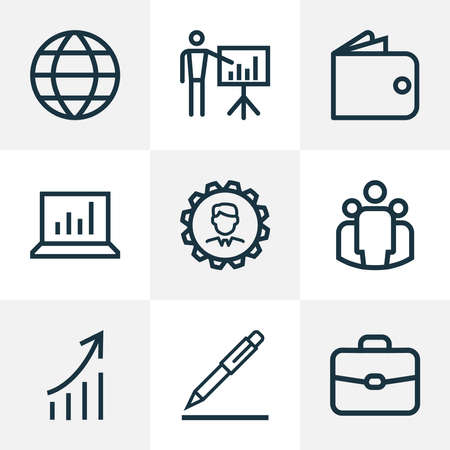Trade icons line style set with increasing, pen, presenting man and other global