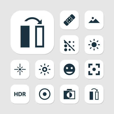 Iconos de imagen con destello, hdr, curación y otros elementos de turno. Iconos de imagen de ilustración aislada.