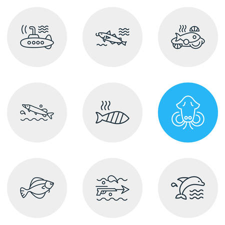 Vector illustration of 9 sea icons line style. Editable set of dolphin, submarine, cod fish and other icon elements. Çizim