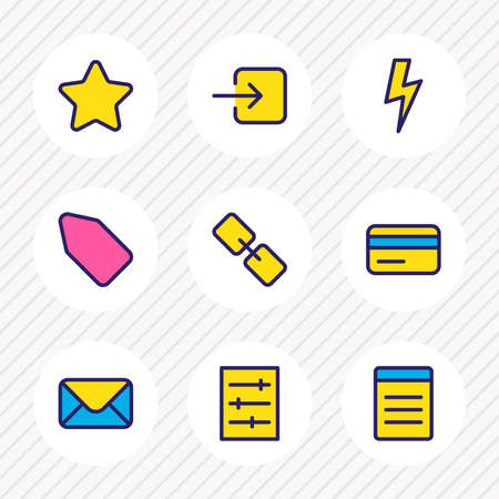 illustration of 9 application icons colored line. Editable set of tag, list, bolt and other icon elements.