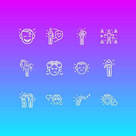 illustration of 12 emoji icons line style. Editable set of hungover, pessimistic, gratitude and other icon elements.