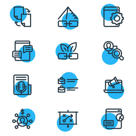 illustration of 12 advertisement icons line style. Editable set of fresh content, press release, web development service and other icon elements.