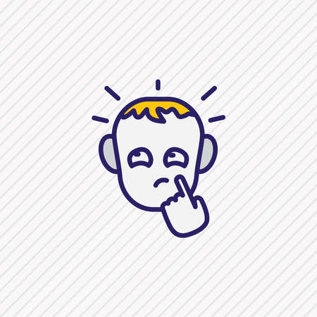 illustration of thoughtful icon colored line. Beautiful emoticon element also can be used as pensive icon element.