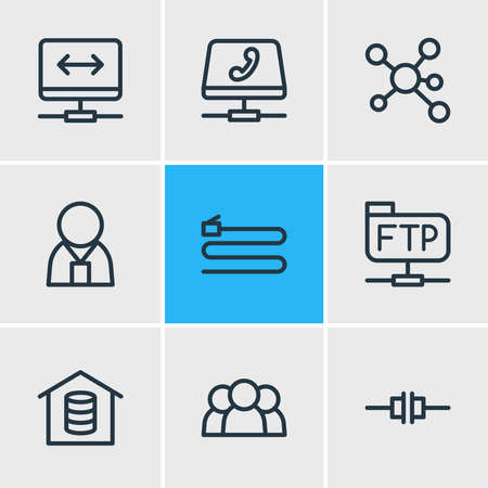Vector illustration of 9 internet icons line style. Editable set of root server, voip gateway, administrator and other icon elements. Ilustração