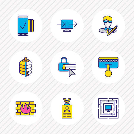 illustration of 9 security icons colored line. Editable set of firewall, author rights, mobile transaction and other icon elements.
