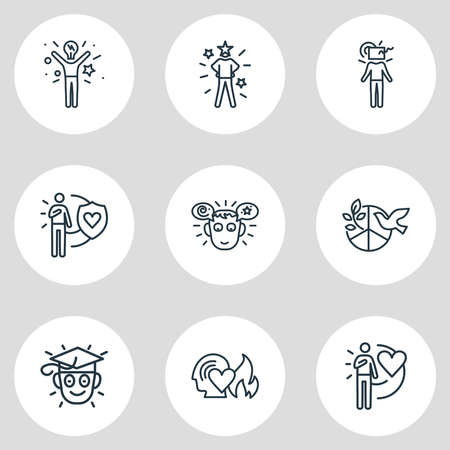 illustration of 9 emotions icons line style. Editable set of passion, learning, inspired and other icon elements. 版權商用圖片