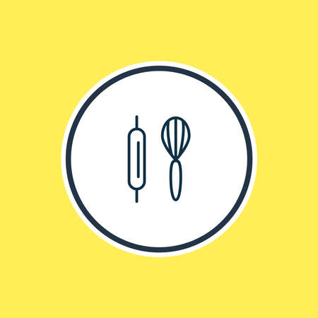 Vector illustration of baking icon line. Beautiful hobby element also can be used as whisk with rolling-pin icon element. Vectores