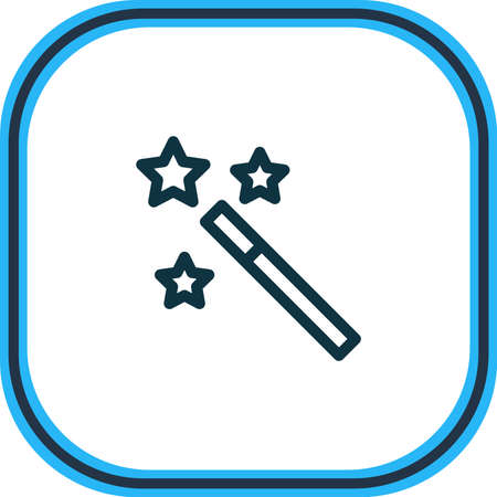 Vector illustration of magic wand icon line. Beautiful entertainment element also can be used as wizard stick icon element. Illustration