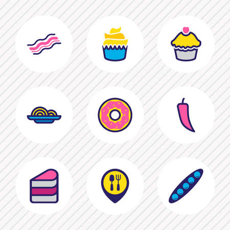 Vector illustration of 9 eating icons colored line. Editable set of peas, little cake, restaurant and other icon elements.