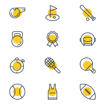 illustration of 12 fitness icons line style. Editable set of pennant, helmet, ping and other icon elements. 写真素材