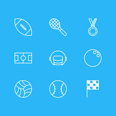 illustration of 9 fitness icons line style. Editable set of rugby, bowling, award and other icon elements.