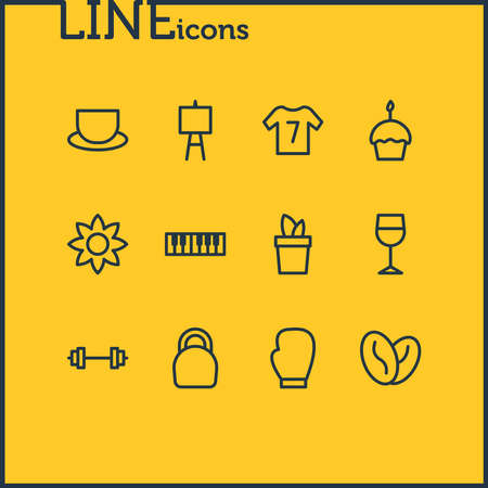 illustration of 12 lifestyle icons line style. Editable set of flower, tea, wineglass and other icon elements.