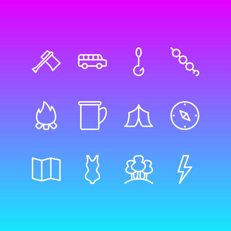 Vector illustration of 12 tourism icons line style. Editable set of forest, axe, lightning and other icon elements.