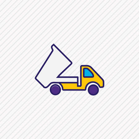 Vector illustration of dump truck icon colored line. Beautiful carrying element also can be used as tipper icon element.