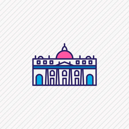 Vector illustration of st peter basilica icon colored line. Beautiful tourism element also can be used as building icon element.