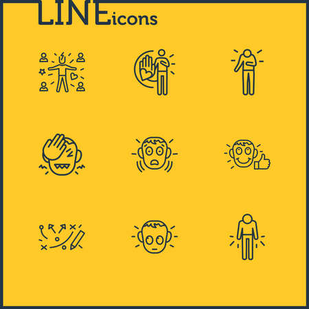 Vector illustration of 9 emoji icons line style. Editable set of guilty, respect, frustrated and other icon elements.