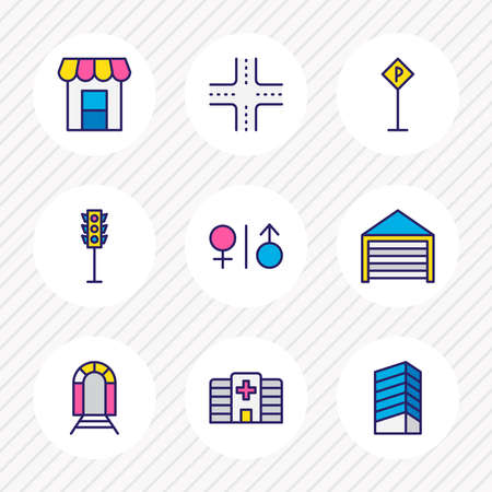 illustration of 9 city icons colored line. Editable set of parking sign, crossroad, storefront and other icon elements. Stockfoto