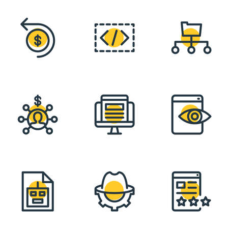 Vector illustration of 9 advertising icons line style. Editable set of affiliate marketing, custom coding, SEO whitehat and other icon elements.