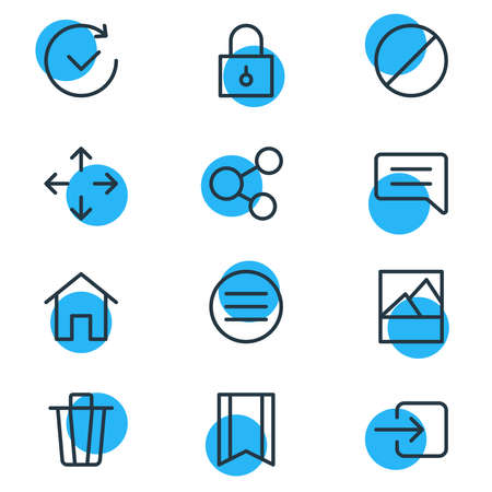 Vector illustration of 12 annex icons line style. Editable set of home, menu, trash can and other icon elements. 向量圖像